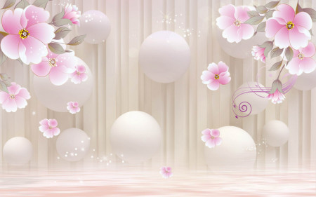 Fototapet Fantezie, Flori roz cu bile pe un fond bej