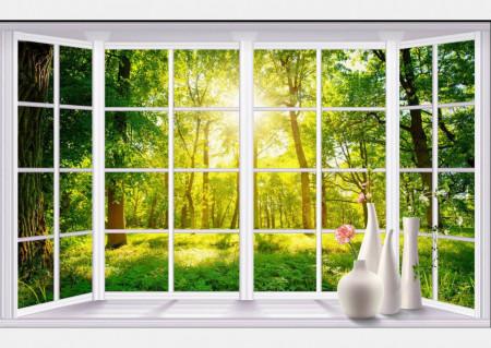 Fototapet, Ferestre albe cu Priveliște la copaci verzi