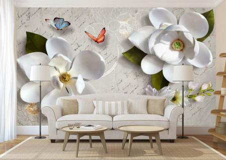 Fototapet, Flori albe și fluturi pe fundalul unei scrisori