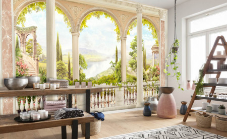 Fototapet Fresco, Balcon cu ferestre arcuite