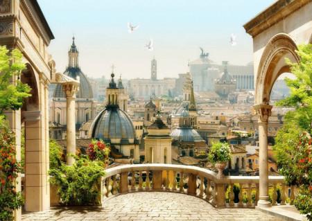 Fototapet Fresco, O priveliște de la balcon la oraș