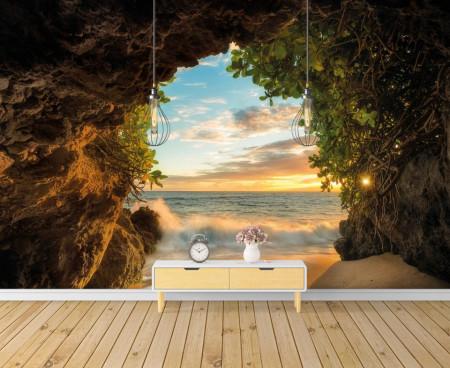 Fototapet Mare, Vedere la mare din peșteră