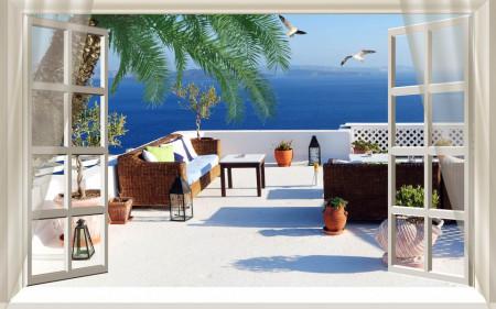 Fototapet, O fereastră deschisă cu Priveliște la balcon
