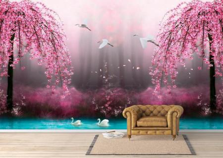 Fototapet, O pădure roz de poveste