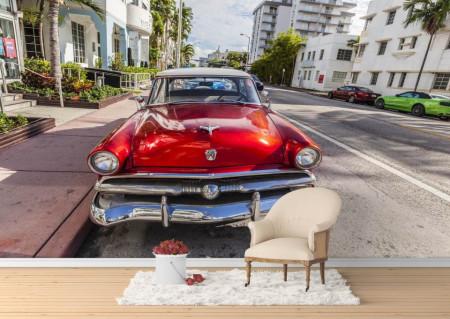Fototapet Transport, O mașină roșie pe drum.