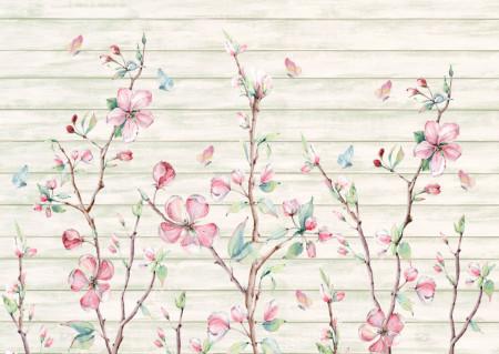 Fototapete, Flori roz pe un fond abstract.