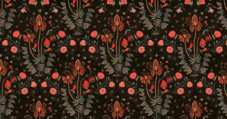 Fototapete, Imprime floral floral roșu pe fond negru