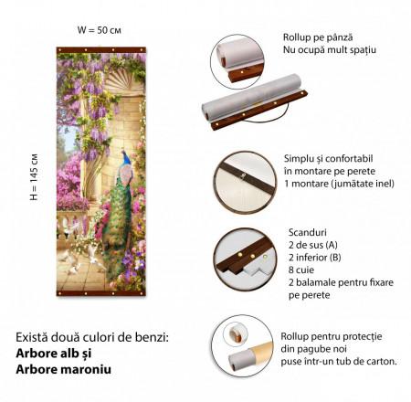 Roll-up, Păuni și flori violet