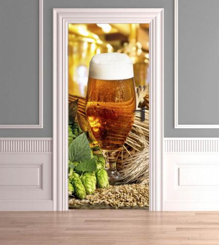 Stickere 3D pentru uși, Paharul mic cu bere, 1 foaie de 80 x 200 cm