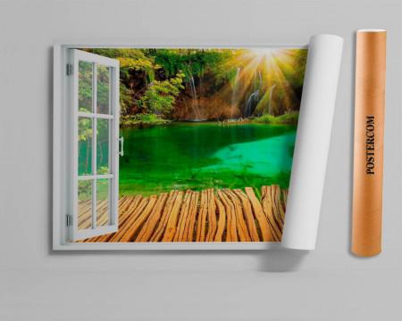 Stickere pentru pereți, Fereastra 3D cu vedere spre o cascadă în culori vii