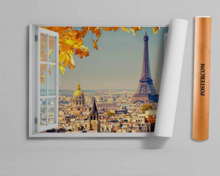 Stickere pentru pereți, Fereastra 3D cu vedere spre orașul Paris