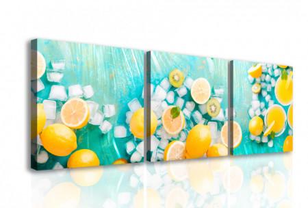 Tablou modular, Lămâi galbene pe un fundal albastru
