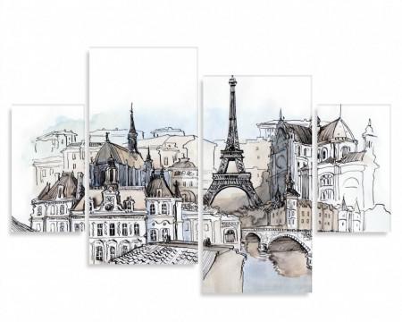 Tablou modular, Parisul pictat în culori calde