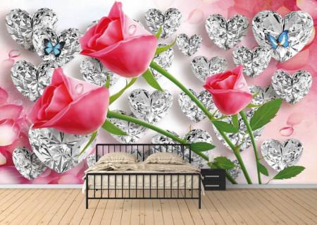 Tapete, Trandafiri roșii pe fundal abstract