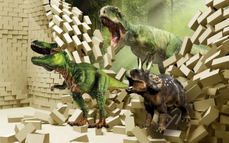 Fototapet 3D, Dinozauri verzi pe fundalul unui zid de cărămidă spart