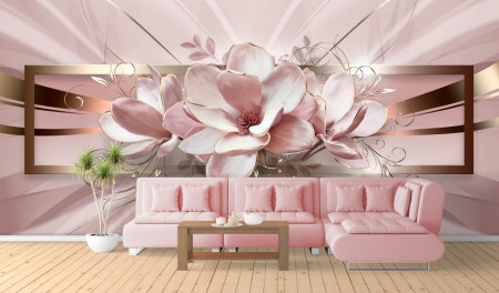 Fototapet 3D, Flori roz pe un fundal roz