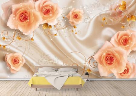 Fototapet 3D, Trandafiri corai