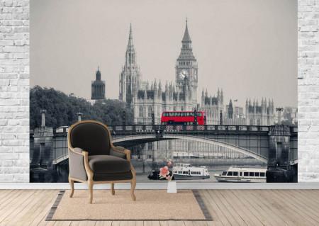 Fototapet, Autobuzul roșu în London