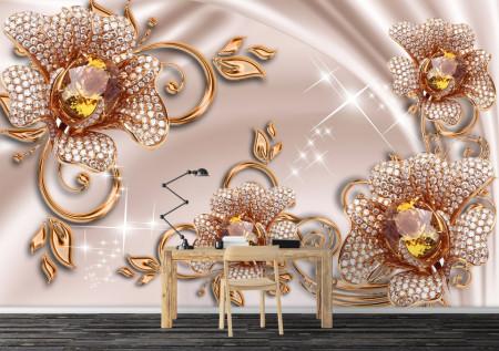 Fototapet, Broșe de aur în formă de flori