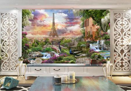 Fototapet Fresco, O terasă frumoasă cu vedere la Paris
