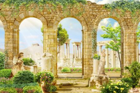 Fototapet Fresco, Perete arcuit cu o vedere frumoasă