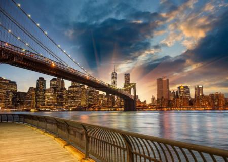 Fototapet Poduri, Fototapete Apus de soare în New York