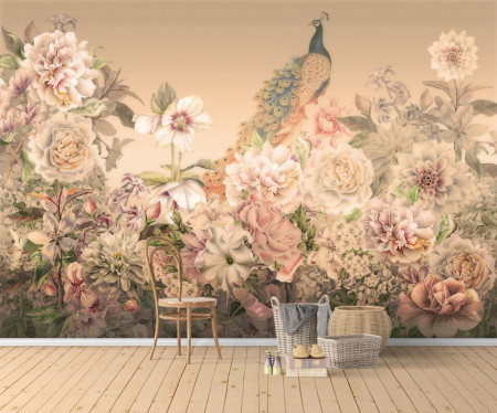 Fototapet, Un păun și flori