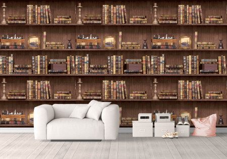 Fototapet, Un perete de cărți