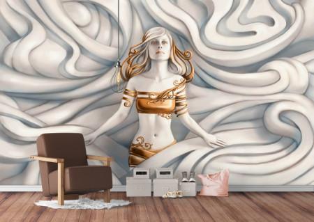 Fototapete 3D, Sculptura unei femei tinere cu haine aurii