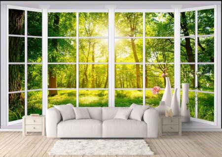 Fototapete, Ferestre albe cu vedere la copacii verzi.