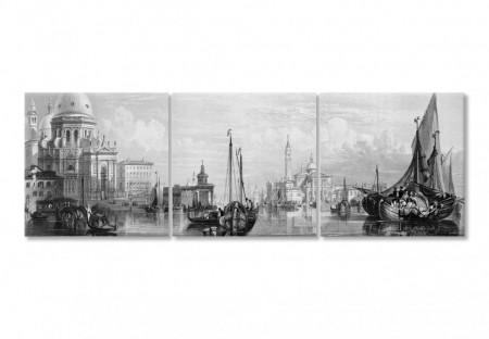 Multicanvas, Orașul alb-negru pe apă cu nave