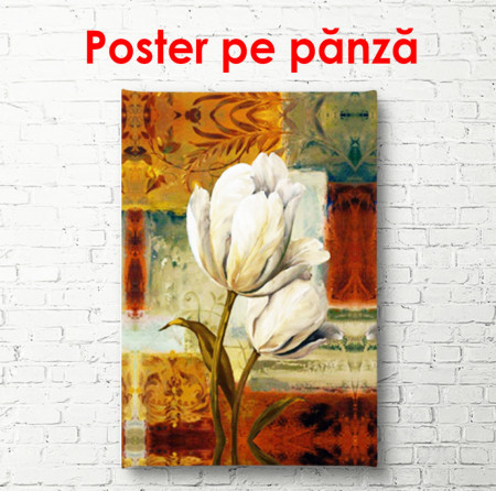 Poster, Lalea albă pe un fundal maro abstract