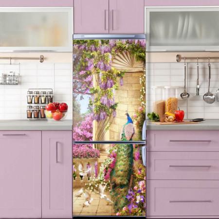 Stickere 3D pentru uși, Păuni și flori violet, 1 foaie de 80 x 200 cm