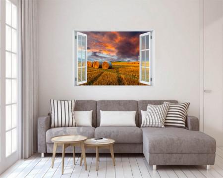 Stickere pentru pereți, Fereastra 3D cu vedere spre apus de soare în lanul de grâu