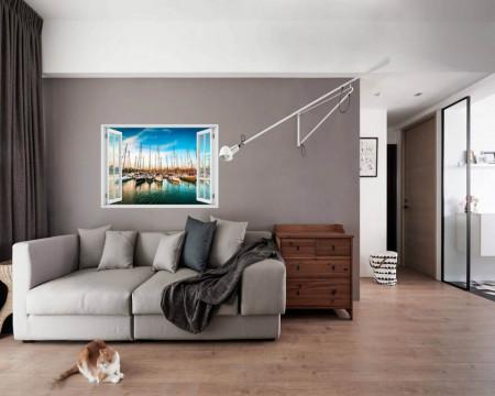 Stickere pentru pereți, Fereastra 3D cu vedere spre un port aglomerat cu bărci