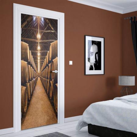 Stickerele decorative, pentru uși, Butoaie de vin, 1 foaie de 80 x 200 cm