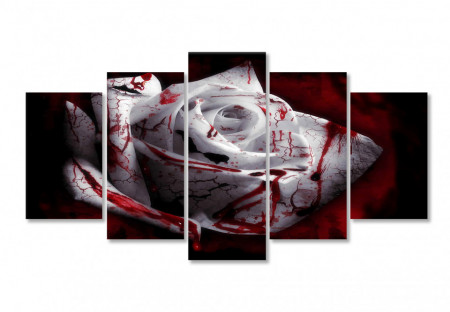 Tablou modular, Trandafirul alb, cu pete roșii