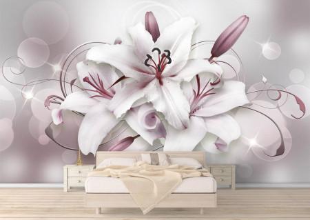 Fototapet 3D, Crini albi cu nuanțe de violet
