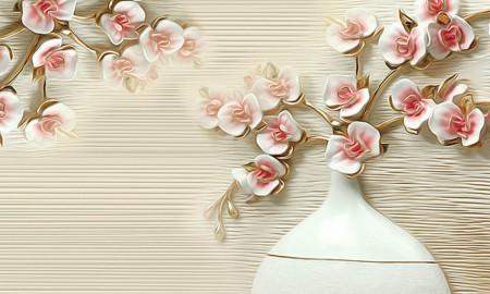 Fototapet 3D, Flori de sakură în vază, pe un fon bej