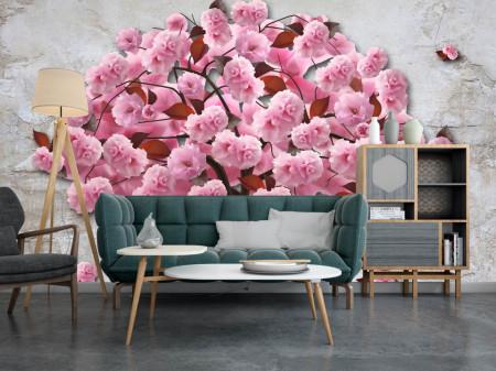 Fototapet Fantezie, Copacul roz pe un fond gri