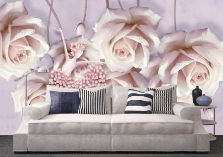 Fototapet Fantezie, Trandafiri albi gingași