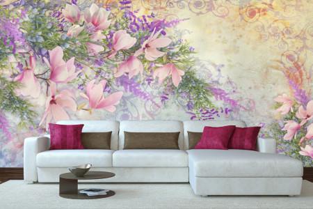 Fototapet, Flori de primavară pe fundal liliachiu
