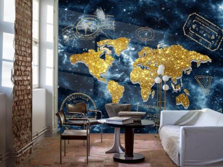 Fototapet Harta si Steaguri, Harta lumii abstracte