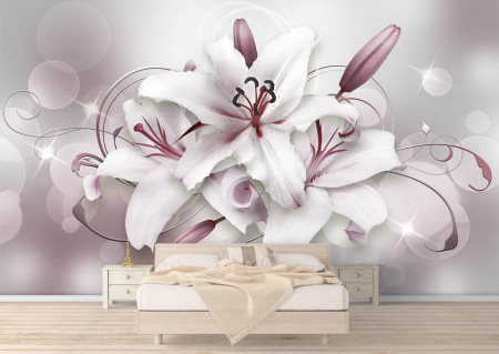 Fototapete 3D, Crini albi cu nuanțe de violet