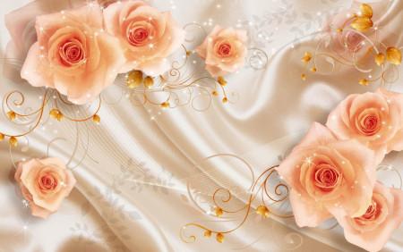 Fototapete 3D, Trandafiri de culoarea persicului pe fundal mătăsos
