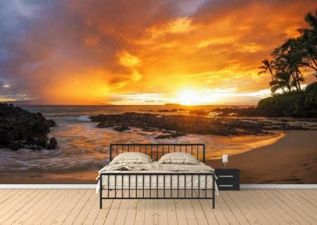 Fototapete, Apusul soarelui pe plajă