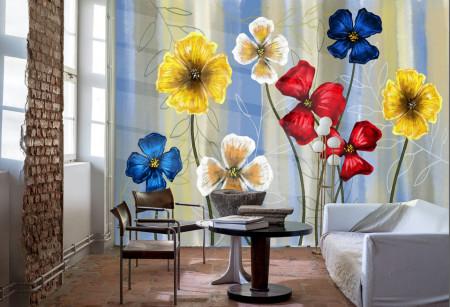 Fototapete, Buchet de flori și păsări colibri pe un fon alb