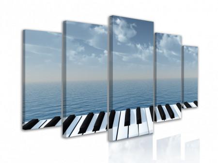 Multicanvas, Tastele pianului pe un fundal albastru