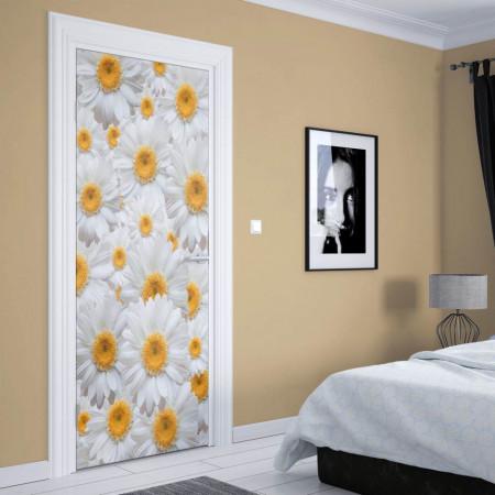 Stickere 3D pentru uși, Mușețel alb, 1 foaie de 80 x 200 cm