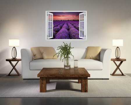 Stickere pentru pereți, Fereastra 3d cu vedere spre o câmpie de lavandă